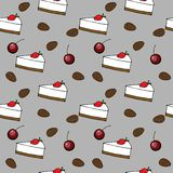 Eamless pattern: cakes, cherry, coffee beans. Vector seamless pattern for your design: sweet cakes and pastries, chees cake, cherry and coffee beans Royalty Free Stock Photography