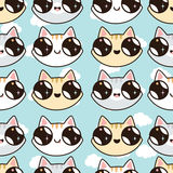 Eamless pattern with Kawaii kittens. Seamless pattern of cute cartoon cats, diff Stock Photography