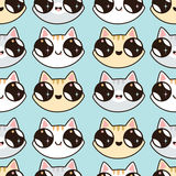 Eamless pattern with Kawaii kittens. Seamless pattern of cute cartoon cats, diff Stock Images