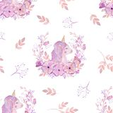 Eamless pattern pink unicorn and flowers watercolor