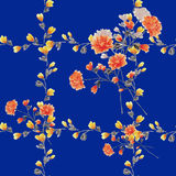 Eamless pattern small red flowers and bouquets and yellow branches on a deep blue background. Watercolor Royalty Free Stock Photo