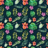 Seamless floral pattern with tropical flowers, watercolor. vector illustration