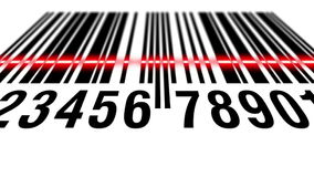 EAN barcode scanning, bottom view. EAN bar code scanning process, bottom perspective royalty free illustration