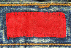 Jeans denim label. Close up of the jeans denim label Royalty Free Stock Images