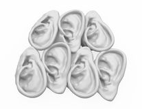 Ear 7. Isolated 3d human ear models, over white Stock Image