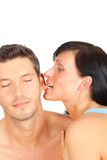 Ear bite couple Royalty Free Stock Photography