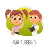 Ear bleeding medical concept. Vector illustration. Royalty Free Stock Photos