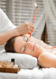 Ear Candling in Spa Stock Photos