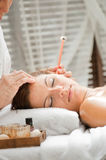Ear Candling in Spa Stock Photo
