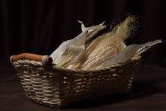 Ear of corn in a basket Stock Photos