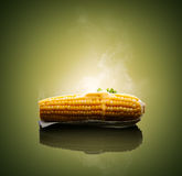 Ear of Corn with hot melting butter Stock Photo