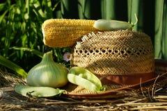 Ear of corn, peas, onion straw hat. Stock Image