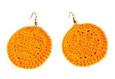 Ear crochet bright yellow. handwork Royalty Free Stock Images