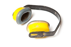Ear Defenders. A pair of ear defenders / muffs used by workers, isolated on white background Stock Image