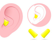 Ear with earplug pictogram Royalty Free Stock Photos