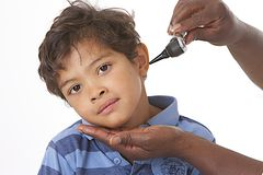 Ear Exam in children Royalty Free Stock Photography