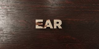 Ear - grungy wooden headline on Maple  - 3D rendered royalty free stock image Royalty Free Stock Photo