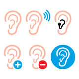 Ear hearing aid, deaf person - health problem icons set Royalty Free Stock Photography