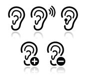 Ear hearing aid deaf problem icons set Royalty Free Stock Photos