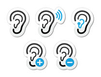 Ear hearing aid deaf problem icons set as labels Stock Photography
