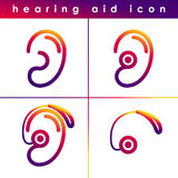 Ear hearing aid deaf problem icons set. Vector symbol isolated on white background. Health problem. Medical sign. Doctor Stock Photo