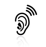 Ear hearing vector icon. Illustration isolated on white background Stock Photo