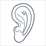 Ear hearness symbol isolated on white. Royalty Free Stock Photos
