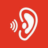The ear icon. Sense organ and hear, understand symbol. Flat Stock Photography