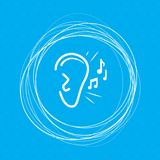 Ear listen sound signal icon on a blue background with abstract circles around and place for your text. royalty free illustration