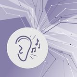 Ear listen sound signal icon on purple abstract modern background. The lines in all directions. With room for your advertising. Royalty Free Stock Image