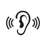 Ear Listening Hearing Audio Sound Waves vector icon Stock Images