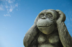 Ear monkey statue. Royalty Free Stock Photography