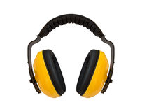 Ear , For noise protection ear. Yellow ear on white background , For noise protection ear not to be harmed by the noise royalty free stock photo