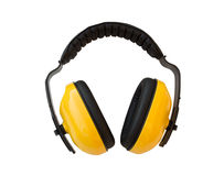 Ear , For noise protection ear. Yellow ear on white background , For noise protection ear not to be harmed by the noise royalty free stock image