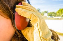 Ear. To protect workers' s royalty free stock photography