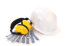 Ear muffs hard hat and gloves. Stock Photography
