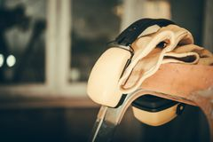 Ear Muffs Noise Reduction. In the Construction Zone royalty free stock images