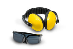 Ear muffs and Protective goggles isolated Stock Photography