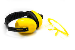 Ear muffs and Protective goggles isolated Stock Photo