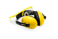 Ear muffs and Protective goggles isolated Stock Photos