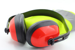 Ear Muffs with Reflective Safety Vest Stock Photos