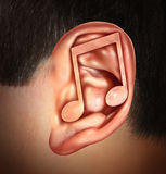 Ear For Music. Concept and listening to entertainment audio symbol for human hearing of media as rock jazz hip hop blues and country music with a musical note Stock Image