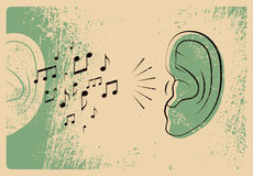 Ear with music notes. Music typographic vintage grunge style poster. Retro vector illustration. Royalty Free Stock Images