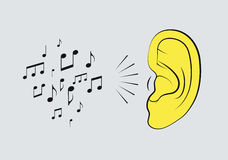 Ear with music notes. Music vintage style poster. Retro vector illustration. Royalty Free Stock Photos