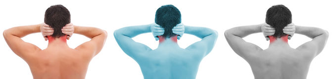 Ear pain collage. Young man with ear pain, holding hands on his head Stock Photo
