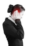 Ear pain symptom in a businesswoman isolated on white background. Royalty Free Stock Images