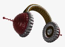 Ear-phones-cakes from below. Ear-phones in the form of a tasty cake with a cream and cookies. Max Stock Photography