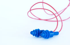 Ear plugs. Close up of blue ear plugs Stock Image