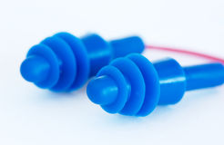 Ear plugs. Close up of blue ear plugs Royalty Free Stock Photo