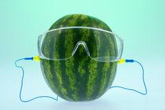 Ear plugs and safety glasses on the melon Stock Photo